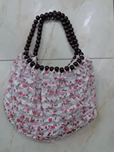 Onlineshoppee Pink Handbags With Beads Handle