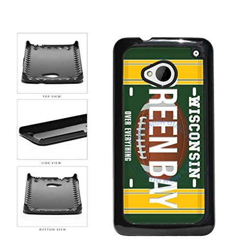 Green Bay Over Everything Football License Plate Plastic Phone Case Back Cover For HTC One M7 comes with Security Tag and MyPhone Designs(TM) Cleaning Cloth from MyPhone Designs