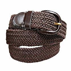 Luxury Divas Brown Braided Elastic Stretch Belt Size Medium