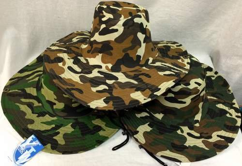 Camo Boonie / Fishing Hat - One Size Fits All [48 Pieces] *** Product Description: Camo Boonie / Fishing Hat - One Size Fits All. Stylish Camouflage Hats Includes Chin Ties. Size: One Size Fits All Material: Polyester Color: Camouflage ***<br />