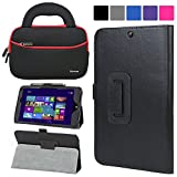 Evecase HP Stream 8 Case (5901 / 5909), SlimBook Leather Folio Stand Case Cover w/ Neoprene Handle Sleeve for HP Stream 8 5901 4G Tablet 32GB / HP Stream 8 Signature Edition Tablet Windows 8.1 Tablet - Black