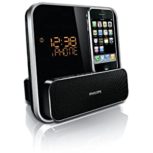 Philips DC315/37 Speaker System for iPod/iPhone with LED Clock Radio - Black - Save: 3%