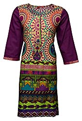 Zele Women's Cotton A-Line Kurti (Z0003-A_Multi-Colour_Large)