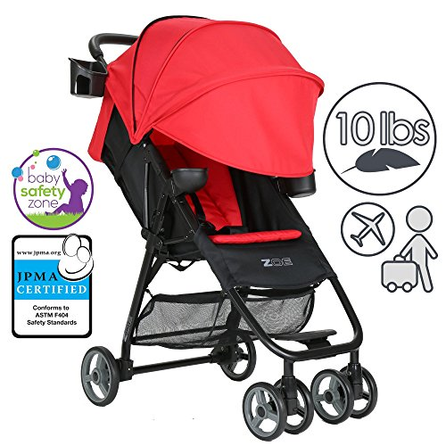 ZOE XL1 DELUXE Xtra Lightweight Travel & Everyday Umbrella Stroller System (Red)
