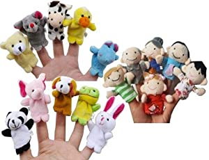 Story Time Finger Puppets - 10 pcs Velvet Animal and 6 pcs Soft Plush Family Puppets With Bonus from La Demoiselle