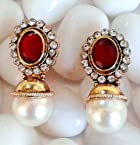 Earrings - Elegant Red stone with Pearl Earring By Adiva ANSATOAEOO74