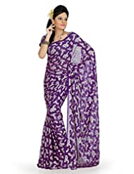 Designersareez Women Georgette Jacquard Printed Purple Saree With Unstitched Blouse(734)