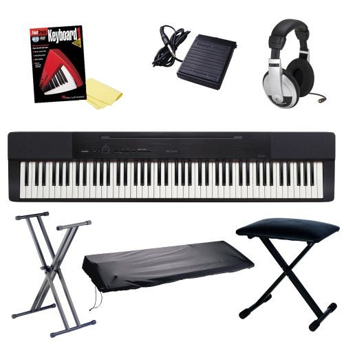 Casio Privia Px-150 88-Key Digital Piano Bundle With Bench, Stand, On-Stage Dust Cover, Yamaha Fc5 Sustain Pedal And Headphones, Hal Leonard Instructional Book And Polishing Cloth - Black