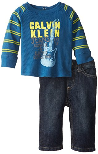Calvin Klein Baby-Boys Newborn Blue Tee With Stripes Sleeves And Jeans, Blue, 3-6 Months
