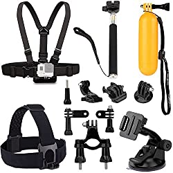 Luxebell 9-in-1 Accessories Kit for Gopro Hero4/3+/3/2/1 Camera, Chest Strap Mount + Adjustable Head Strap + Floating Handle Grip + Bike Handlebar Mount + Car Suction Cup Mount + Extendable Handheld Monopod Stick