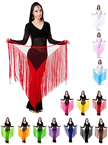 Surfwheel Belly Dance Hip Scarf, Egyptian Triangle Shawl Dance Costume