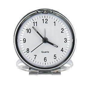 Bold Round Metal Folding Travel Alarm Clock