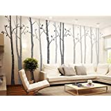 designyours 4 Big Birch Tree Wall Decal Nursery Removable Vinyl Tree Wall Decals for Living Room Tree Wall Stickers