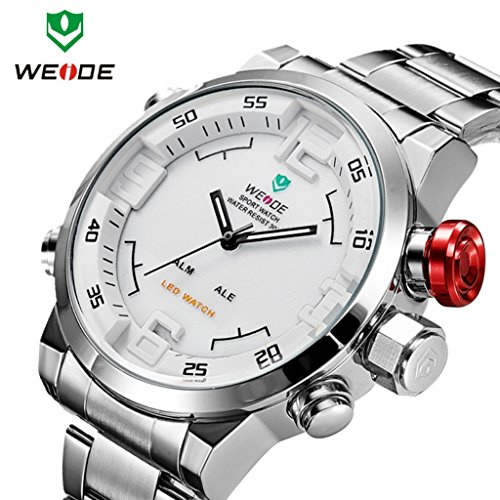 Weide Watch; Cool Men'S Japan Miyota 2035 Quartz Movt Analog-Digital Led Display Sport Watch; Stainless Steel Band Watch