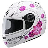 Scorpion Black Dahlia EXO-700 Sports Bike Motorcycle Helmet – Color: Matte White Size: Large