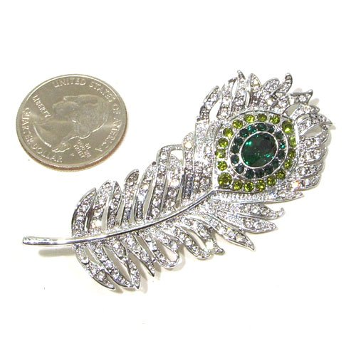 Green (Dark, Light and Olivine) and Clear Austrian Rhinestone Peacock Feather Silver Plated Brooch Pin