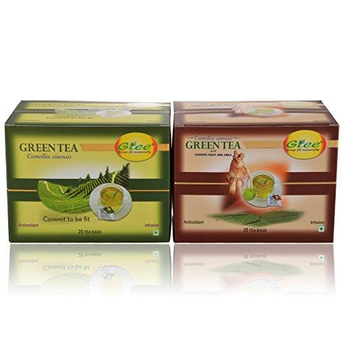 GTEE Green Tea Bags - Regular & Green Tea Bags - Ginseng (25 Tea Bags X 2PACKS)