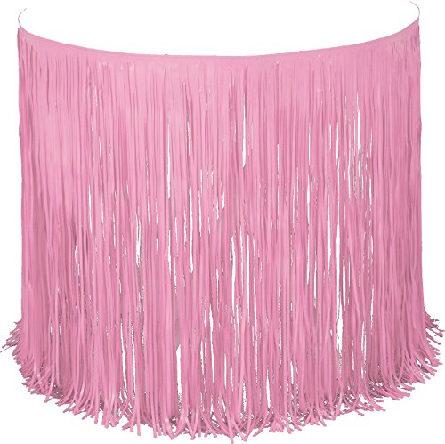 Creative Converting Plastic Fringe Table Skirt, 12-Feet, Pink