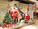 UberLyfe Christmas Tree & Ho Ho Santa Wall Sticker - 2Sheet Elaborate Design (Wall Covering Area: 110cm x 240cm)