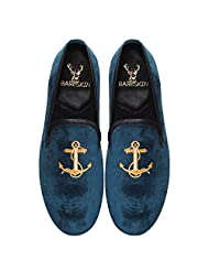 Bareskin Anchor Special Mens Handmade Blue Velvet Slipon With Embroidery - Limited Edition(Made On Order)