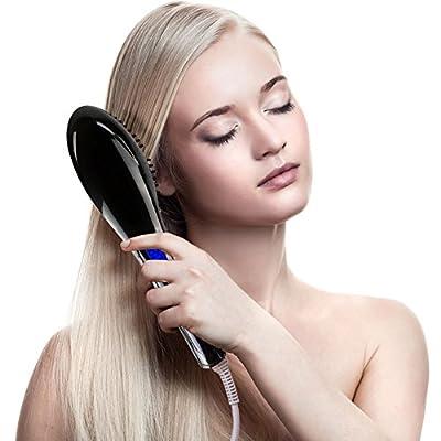 MOKOQI Hair Straightener Pro Natural Silky Straight Hair Styles Comb with Anion Moisturizing Hydrating Care Brush Anti-Scald Anti-Static Ceramic Detangling Hair Iron Treatment Massager (Pink)