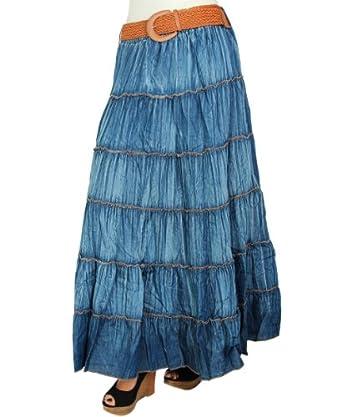 krisp womens denim maxi knee length flared skirt with