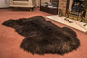 Brown XXL British 100% Genuine Natural Sheepskin Fur Rug + 250g Free Offcuts by Leather Heritage