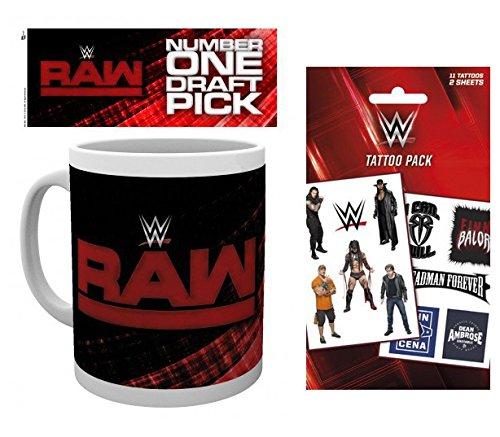 Set: Wrestling, WWE, Raw Draft Tazza Da Caffè Mug (9x8 cm) E 1 Wrestling, Set Tatuaggi (17x10 cm)