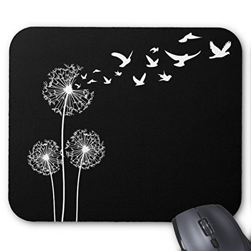Dandelions Blow Into Birds Black & White Mouse Pad - Stylish, durable office accessory and gift