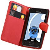 ITALKonline RED Executive Wallet Case Cover Skin Cover with Credit / Business Card Holder For Samsung i9070 Galaxy S Advance