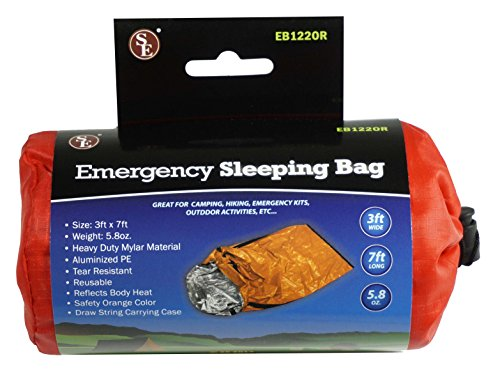 SE EB122OR Emergency Sleeping Bag with Drawstring Carrying Bag, Orange