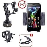 Support 3 en 1 voiture pour téléphone portable / smartphone Archos 50 Platinum et 50 Titanium sous Android- grille d'aération, pare-brise & tableau de bord + chargeur allume-cigare BONUS