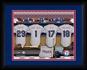 MLB Personalized Locker Room Print Black Frame Customized Texas Rangers 13 X 16 by You