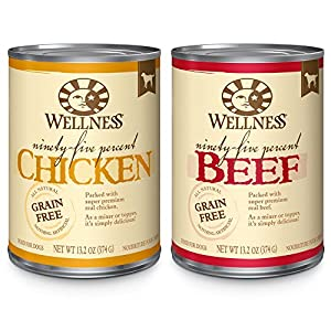 Wellness 95-Percent Grain Free Natural Wet Dog Food, Best Sellers Variety Pack, 13.2-Ounce Can (Pack of 18)