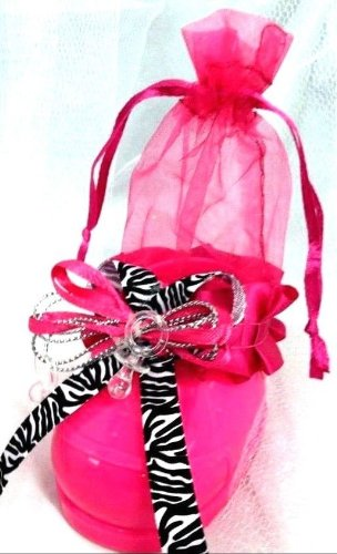5 Zebra Print Baby Shower Jungle Shoe Favor Favors Mother To Be Keepsake Gift front-1059291