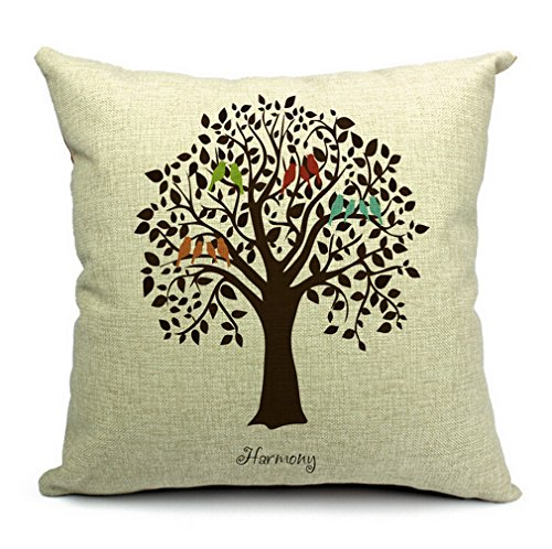 """Cotton Linen Square Decorative Throw Pillow Case Shell Cushion Cover Bird On Tree 18 """"X18 """""""