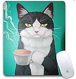 Aviva-Amanda マウスパッド コーヒーを飲む猫 特別なデザイン ゲーミング オカスタマイズ 光学式対応 モダン(プレゼント付き)