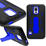 myLife (TM) Shocking Space Black and Bright Royal Blue - Shock Suit Survivor Series (Built in Kickstand + Easy Grip Silicone) 3 Piece + 2 Layer Case for NEW Galaxy S5 (5g) Smartphone By Samsung (External Flex Silicone Bumper Gel + Internal 2 Piece Rubberized Snap Fitted Armor Protector + Shock Absorbing Material)