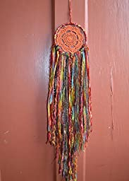 5 inch Coral and Gold Dreamcatcher