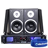 "2x Skytronic 5"" Stereo Bookshelf Speakers + Amplifier + Cables Hi-Fi System 500W"