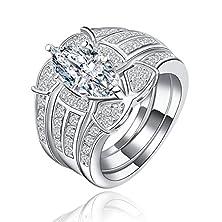 buy Superhai Fashion Couples Combination Zircon Ring Engagement Ring Full Diamond Ring Big Oval