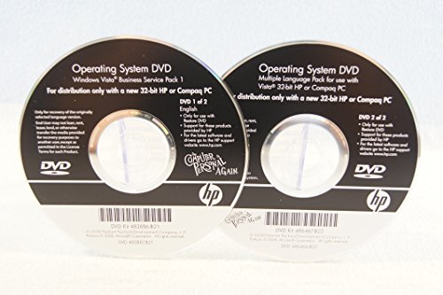 Operating System DVD Windows Vista Business Service Pack 1 32 Bit HP or Compaq 2 Disc Set - PC Computer Program Software Install Disc Driver Part Number #483886-B21 + 486467-B22 (Vista Service Pack 1 compare prices)