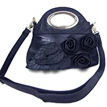 Rosette Clutch Handbag (Navy Blue)