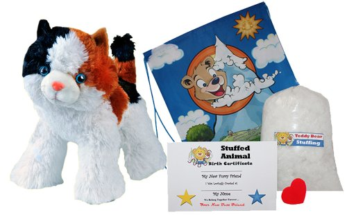 Make Your Own Stuffed Animal Cali The Calico Cat No Sew Kit With Cute Backpack