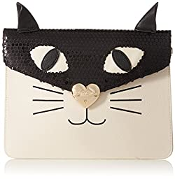Betsey Johnson Cray Creatures Meow Clutch, Cream, One Size