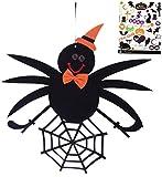 Madrugada ハロウィン 紐付き 蜘蛛 ビッグオーナメント ハロウィン タトゥーシール付き 2点セット ホームパーティー お店などの飾りつけに S461