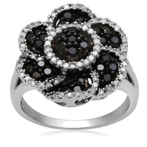 Jewelili Genuine Black and White Diamond Flower Ring in Sterling Silver (1 Cttw, IJ Colour, I2/I3 Clarity), Size 7