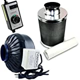 VenTech VT IF4+CF4-B Inline Exhaust Blower Fan with Carbon Filter and Variable Speed Controller, 190 CFM, 4""