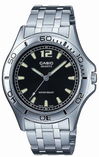 Casio MTP-1258D-1AEF Gents Watch Quartz Analogue Black Dial Silver Steel Strap