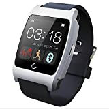 Qkking Latest Smart Bluetooth 4.0 UX Wristwatch Heart Rate Monitor for Sports Pedometer, Sleep Monitoring, Answering Phones, Remote Camera, Intelligent Anti-lost and Other Functions Ranging, is Currently The Most Powerful Smart Watch -Silver